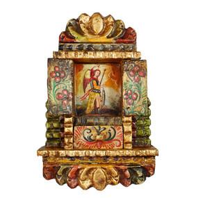 """Archangel Gabriel Peru Retablo Folk Art Painting Handcarved Wood Altarpiece  11""""H x 7.5""""W (4327)"""