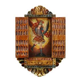 """Archangel Michael Peru Retablo Folk Art Painting Handcarved Wood Altarpiece  11""""H x 7.5""""W (4366)"""