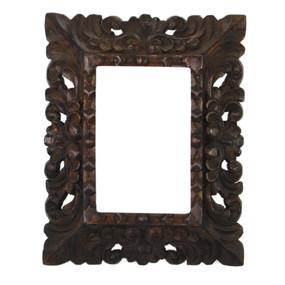 "Cedar Wood Frame Handmade Handcarved Design - 9.5""H x 8""W"