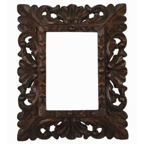 "Colonial Cedar Wood Frame Handmade Handcarved Design  9.5""H x 8""W"