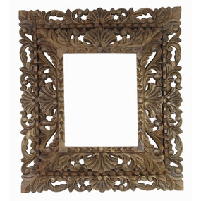 "Cedar Wood Frame Double Box Handcarved Design - 19""H x 17""W"