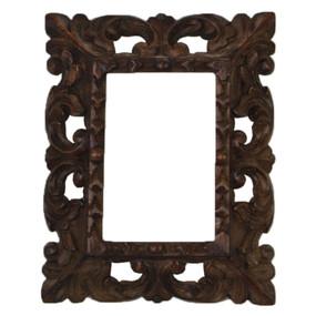 """Cedar Wood Frame Handmade Handcarved Design - 9.5""""H x 8""""W (87E-014-001)"""