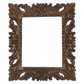 "Cedar Wood Frame Handmade Handcarved Design - 15""H x 13""W (87M-014-003)"