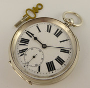 1900s Thick Sterling Silver Key Wound Swiss Pocket Watch