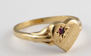 Vintage 9ct Gold Heart Shaped Ring with Ruby Size M