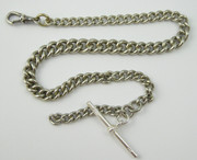 Antique White Metal Watch Chain with Sterling Silver T Bar