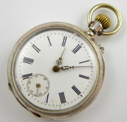 1800s German .800 Silver Fob Size Pocket Watch with Crown Wound Movement