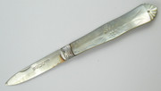 Antique 1861 John Yeomans Cowlishaw Sterling Silver Pocket Fruit Knife with a Pearl Handle