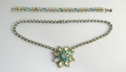 Vintage Art Deco 1960s Costume Necklace & Bracelet Paste Setting