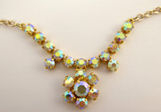 Vintage 1950s 1960s Costume Jewellery Necklace Iridescence Paste Setting