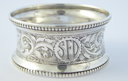 Antique Monogrammed SFD 1897 Solid Sterling Silver Napkin Ring by H J Cooper