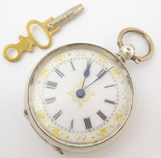 1880s Antique Swiss Silver Key Wound Mechanical Pocket Watch