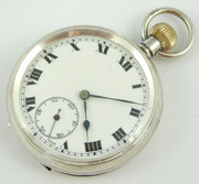 Antique 1918 Hallmarked Sterling Silver Cased Swiss Mechanical Movement Pocket Watch