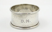 "Antique Hallmarked Sterling Silver Napkin Ring Monogrammed ""DN"""