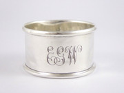 "Antique Hallmarked Sterling Silver Napkin Ring Monogrammed ""EGW"""