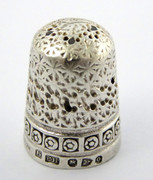 Antique 1897 Hallmarked Sterling Silver Sewing Thimble Silversmith Charles Horner