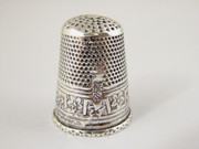 Antique Hallmarked 925 Silver Sewing Thimble Floral Decoration