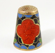 Vintage Enamel Thimble with Red Floral and Enamel Decorations