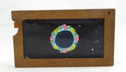 Mid 1800s Hand Painted Glass Magic Slide in a Cedar Frame Good Night