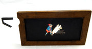 Mid 1800s Hand Painted Glass Magic Slide in a Cedar Frame Boy Catching Pig