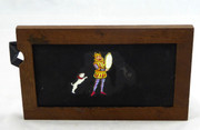 Mid 1800s Hand Painted Glass Magic Slide in Cedar Frame Circus Dog