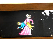 Mid 1800s Hand Painted Glass Magic Slide in Cedar Frame with Mother & Boy