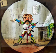 1800s Set of 9 Hand Painted Glass Magic Slides Jack the Giant Killer