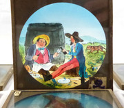 1800s Set of 6 Hand Painted Glass Magic Slides Men and Tiger