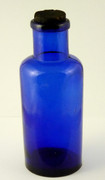 1800s Antique Blue Cobalt Glass Bottle Embossed 500 with Stopper