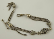 Antique  Silver Plated Fancy Watch Chain with T Bar T002