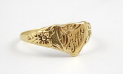 Small Antique 9ct Signet Gold Ring Monogrammed TW Size N