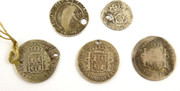 5 Antique Silver Coins dating from 1562 to 1817
