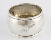 Antique 1896 Hallmarked Sterling Silver Napkin Ring Worn PHYLLIS