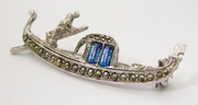 Vintage 800 Silver Gondolier Boat with Paste Setting