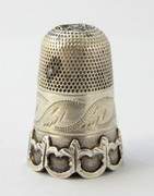 1900s Antique White Metal Sewing Thimble