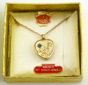 Vintage 9ct Gold Lined Heart Photo Locket Tony Pendant with Chain in Original Box