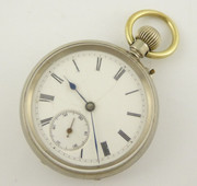Late 1800s Antique White Metal  Pocket Watch Jasper Cannington (Needs Work)