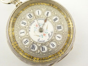 Antique  Fancy Late 1800s H Peck London Swiss Hallmarked Fine Silver Applied Gold Dial Pocket Watch