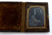 1800s Victorian Ambrotype Photograph of Victorian Lady with Baby