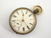 Antique  Crown Wind Mechanical Case Gun Metal Pocket Watch