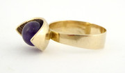 Vintage Modernist Scandinavian 9ct Gold Ring Cabochon Amethyst Size S