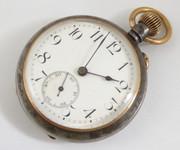 Late 1800s Gun metal Maxim Swiss Made Fob Pocket Watch Crown Wind Movement (Needs Work)