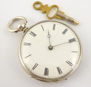 Late 1800s Antique Fine Slim Pocket Watch with Key Wound Movement