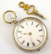 Late 1800s Antique .800 Swiss Hallmarked Silver Pocket Watch