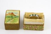 Art Deco Hallmarked 18ct Palladium Gold Ring Set with Diamonds & Emeralds Size O