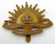 Antique Brass WW2 Military AIF Australia Rising Sun Hat Badge