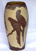 Unusual Australian Pottery Vase by Norma Sullivan Eudlo QLD Rosella & Lorikeets