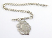 Antique Sterling Pocket Watch Chain with Sterling Silver 1906 Fob