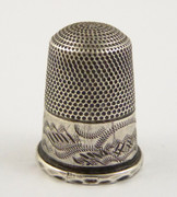 Antique 1900s Engraved Silver Plated Thimble