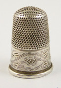 1900s Antique Engraved Silver Plated Thimble